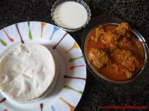 Pathiri and kozhi curry