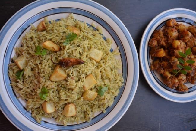 coriander rice recipe malliyila sadam